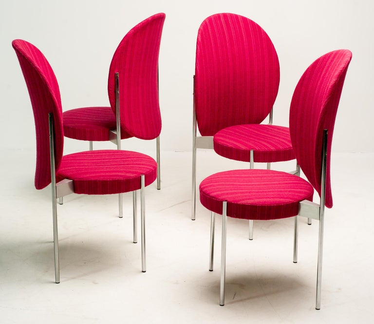 Danish Rare Set of Four Verner Panton High Back Dining Chairs For Sale