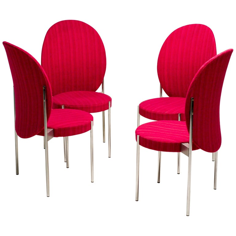 Rare Set of Four Verner Panton High Back Dining Chairs For Sale