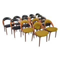 Rare Set of Fourteen Arne Hovmand Olsen Hoop Dining Chairs in Teak