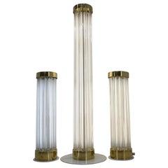 Rare Set of Glass Brass Floor Lamps by Kamenicky Senov/Preciosa, 1960s