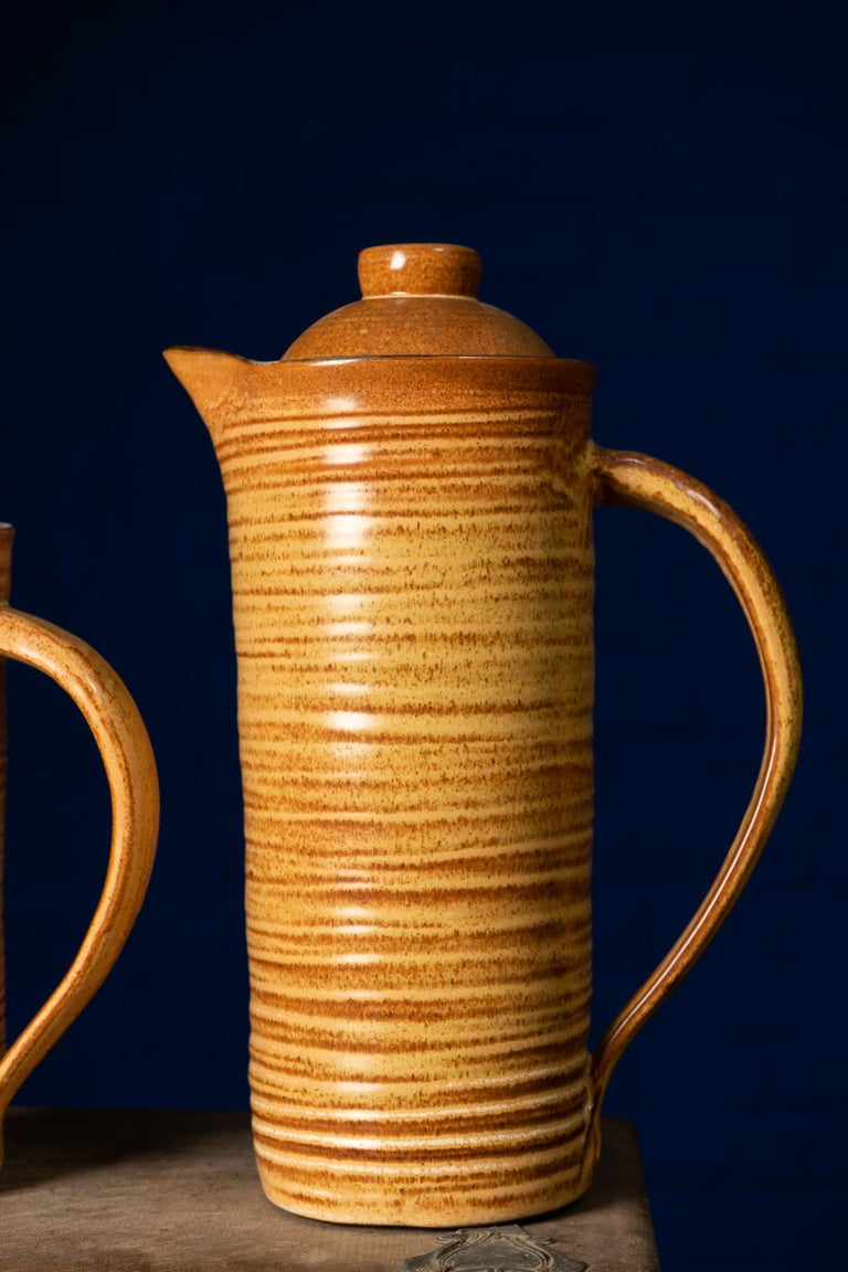 European Rare Set of Handmade Ceramic Cups with Brown Spirals For Sale