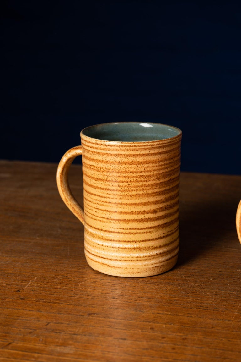 Hand-Crafted Rare Set of Handmade Ceramic Cups with Brown Spirals For Sale