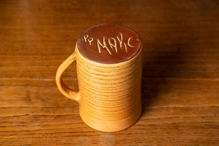 Rare Set of Handmade Ceramic Cups with Brown Spirals For Sale 1
