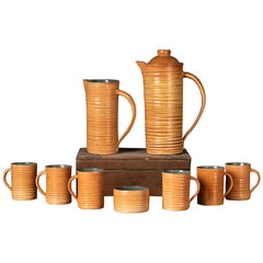 Rare Set of Handmade Ceramic Cups with Brown Spirals