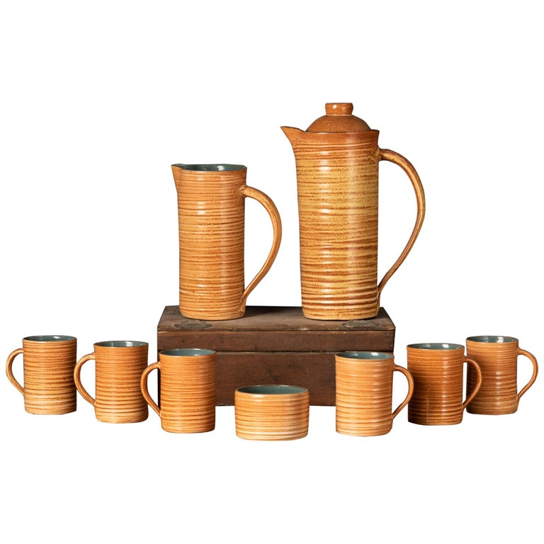 Rare Set of Handmade Ceramic Cups with Brown Spirals For Sale