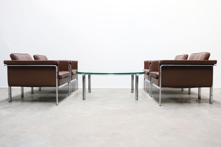 Steel Rare Set of Lounge Chairs & Coffee Table by Horst Bruning for Kill International For Sale