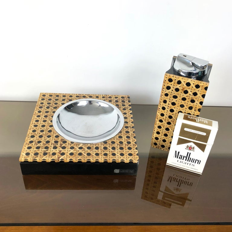 Italian Rare Set of Lucite and Wicker Table Lighter and Ashtray by Felice Antonio Botta For Sale