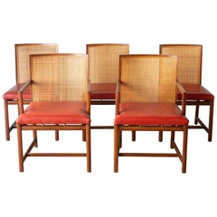 """Rare Set of Michael Taylor for Baker """"Floating"""" Cane Dining Chairs, circa 1960"""