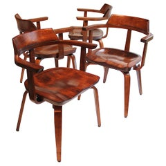 Rare set of Mid-Century Modern W199 Chairs by Walter Gropius for Thonet Bauhaus