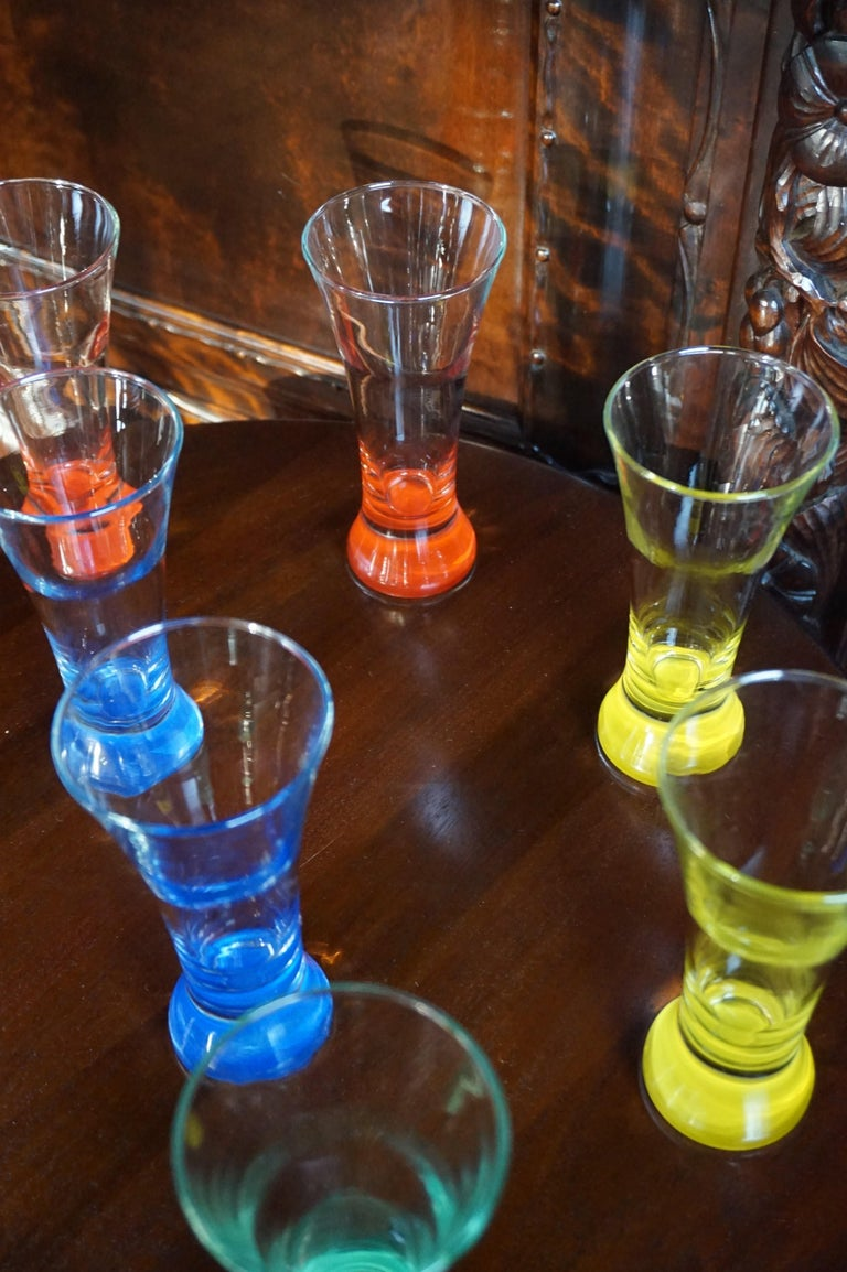 Rare colorful and Stylish Set of Midcentury Modern French Drinking Glasses  For Sale 6