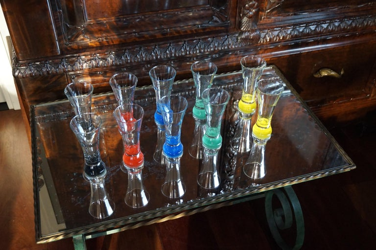Rare colorful and Stylish Set of Midcentury Modern French Drinking Glasses  For Sale 7