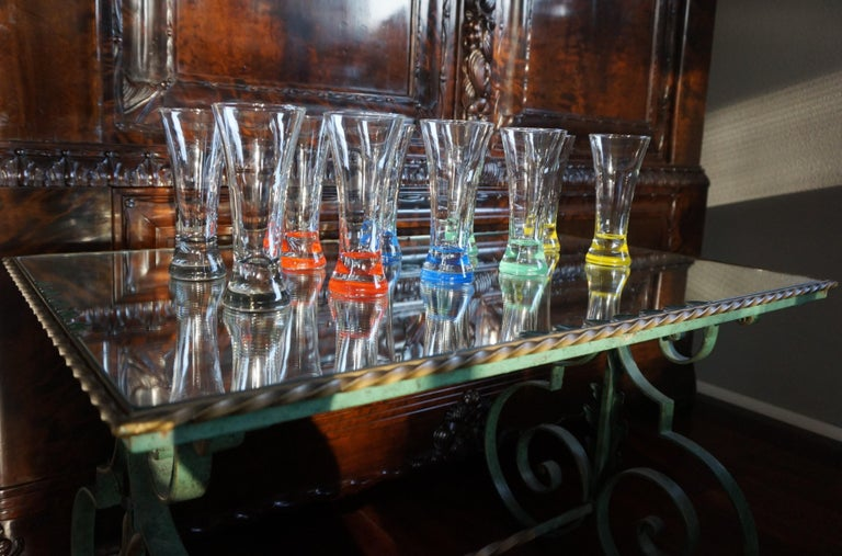 Rare colorful and Stylish Set of Midcentury Modern French Drinking Glasses  For Sale 10