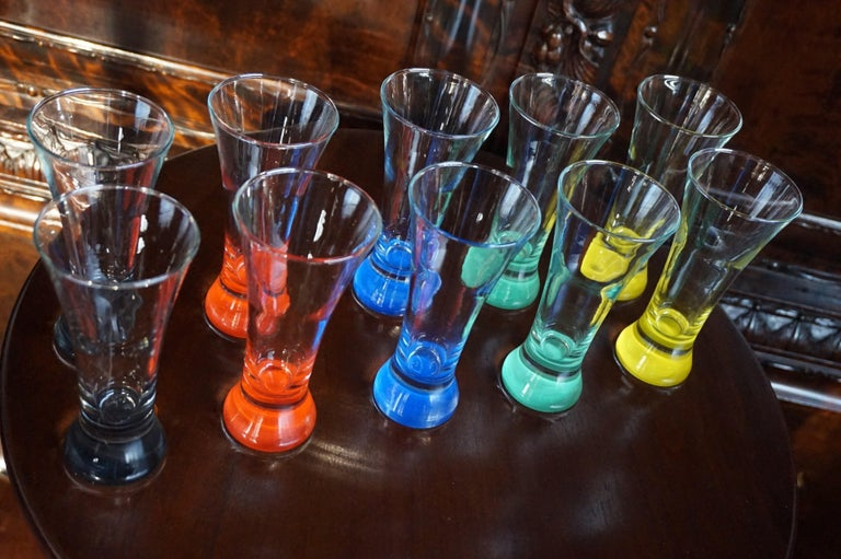 Rare colorful and Stylish Set of Midcentury Modern French Drinking Glasses  For Sale 13