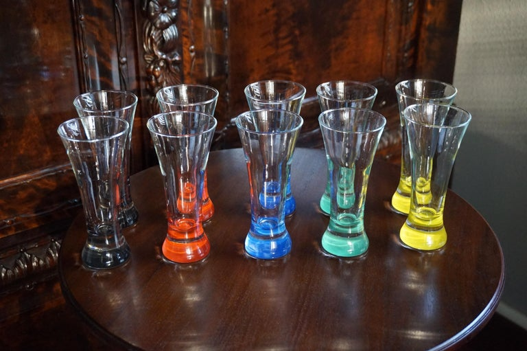 Mid-Century Modern Rare colorful and Stylish Set of Midcentury Modern French Drinking Glasses  For Sale