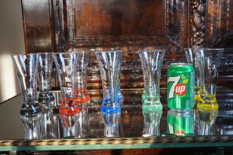 Hand-Crafted Rare colorful and Stylish Set of Midcentury Modern French Drinking Glasses  For Sale