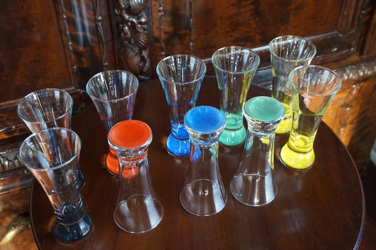 Rare colorful and Stylish Set of Midcentury Modern French Drinking Glasses  In Excellent Condition For Sale In Lisse, NL