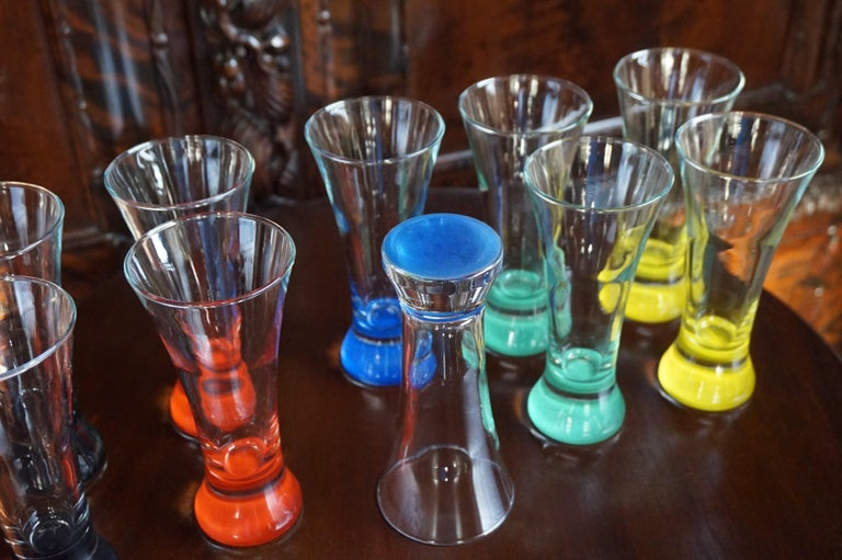 20th Century Rare colorful and Stylish Set of Midcentury Modern French Drinking Glasses  For Sale