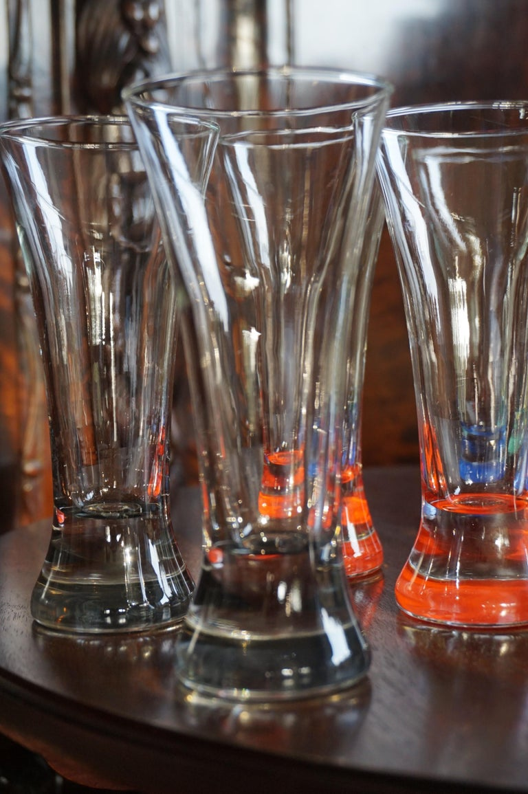 Rare colorful and Stylish Set of Midcentury Modern French Drinking Glasses  For Sale 1