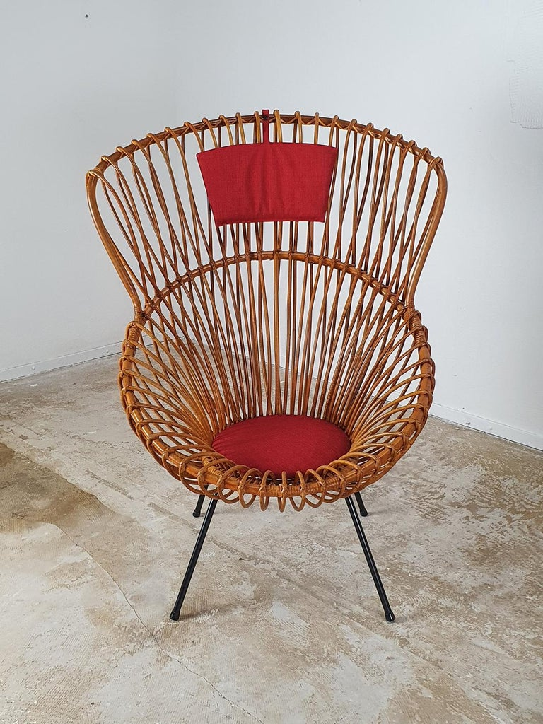 Rare set of rattan chairs by Rohé Noordwolde, 1960s.