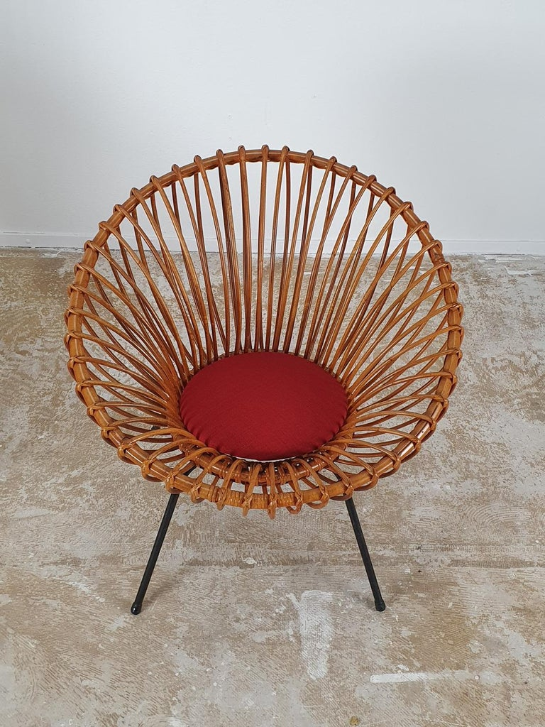 Mid-Century Modern Rare Set of Rattan Chairs by Rohé Noordwolde For Sale