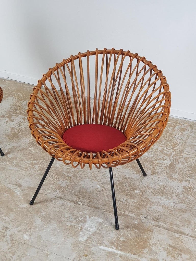 European Rare Set of Rattan Chairs by Rohé Noordwolde For Sale