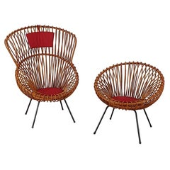 Rare Set of Rattan Chairs by Rohé Noordwolde