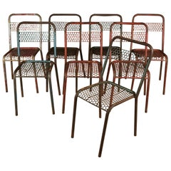Rare Set of Rene Malaval Bistro Chairs, from France, 1940s