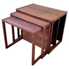 Rare Set of Rosewood Nesting Tables Danish Modern