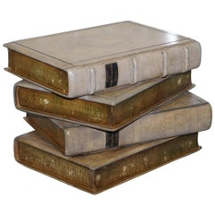 Rare Set of Scholars Stacked Books Side End Lamp Wine Table Leather Bound