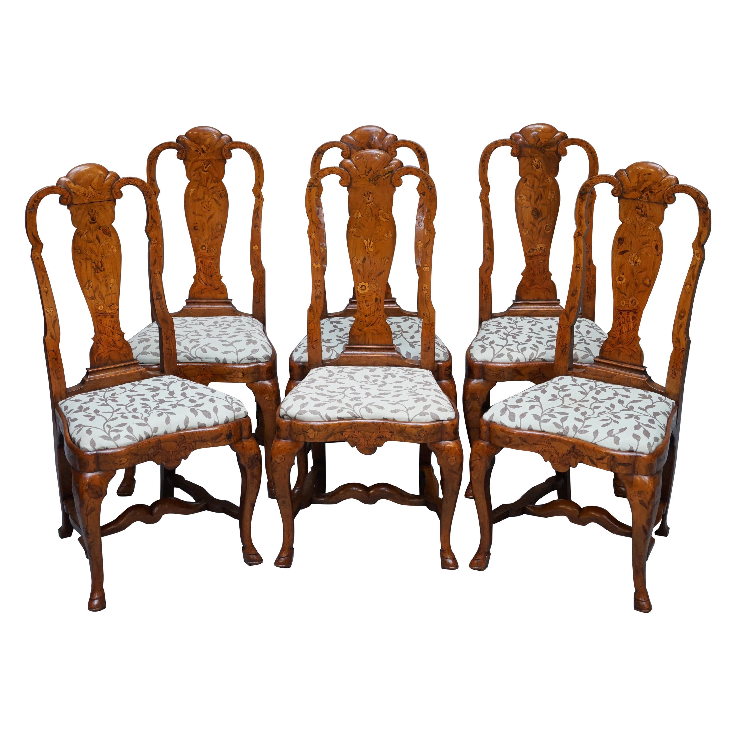 Rare Set of Six 18th Century circa 1760 Dutch Elm Marquetry Inlaid Dining Chairs