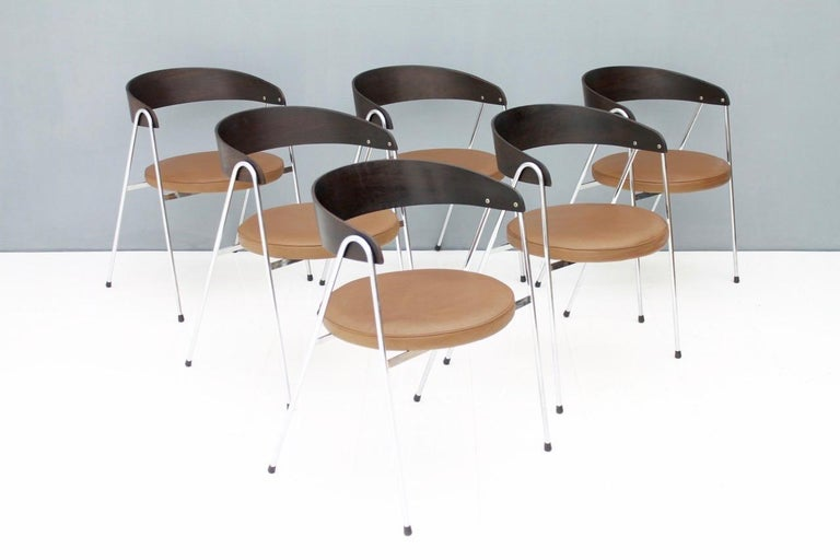Steel Rare Set of Six Armchairs by Roland Rainer, 1965 For Sale