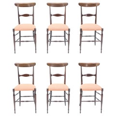 Rare Set of Six Campanino Chiavari Walnut Chairs by Fratelli Levaggi, 1950