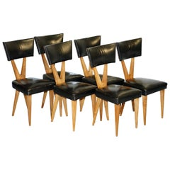 Rare Set of Six circa 1950 Gianni Vigorelli Walnut & Black Leather Dining Chairs