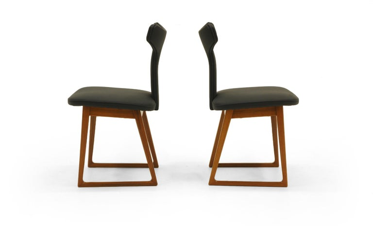 Danish Rare Set of Six Dining Chairs by Arne Vodder for Sibast, Teak and Black Leather For Sale