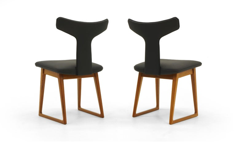 Rare Set of Six Dining Chairs by Arne Vodder for Sibast, Teak and Black Leather In Excellent Condition For Sale In Kansas City, MO