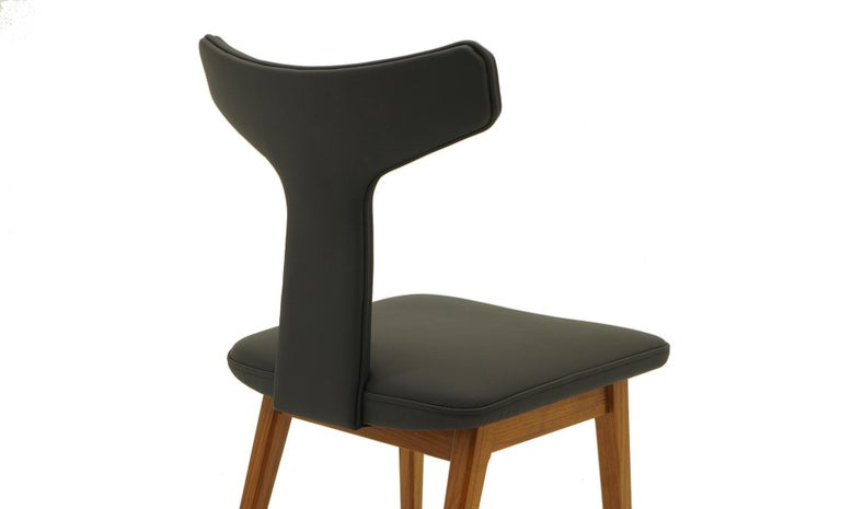 Mid-20th Century Rare Set of Six Dining Chairs by Arne Vodder for Sibast, Teak and Black Leather For Sale