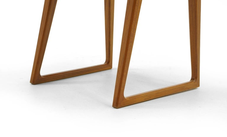 Rare Set of Six Dining Chairs by Arne Vodder for Sibast, Teak and Black Leather For Sale 1
