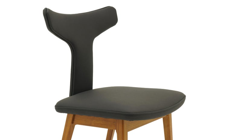 Rare Set of Six Dining Chairs by Arne Vodder for Sibast, Teak and Black Leather For Sale 2