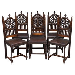 Rare Set of Six Gothic Revival High Back Dining Chairs Embossed Brown Leather