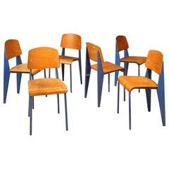 "Rare Set of Six Jean Prouvé ""Standard"" Chairs, circa 1950s"