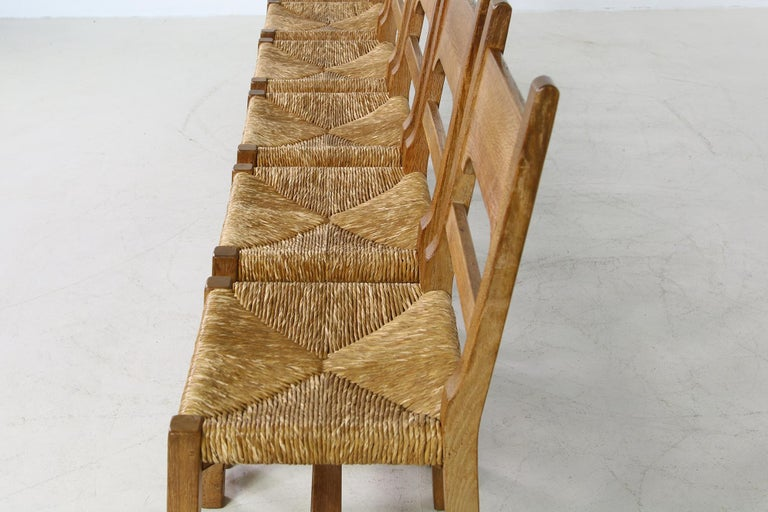Rare Set of Six Mid Century Modern Vintage Solid Oak and Rush Chairs, Cane  For Sale 3