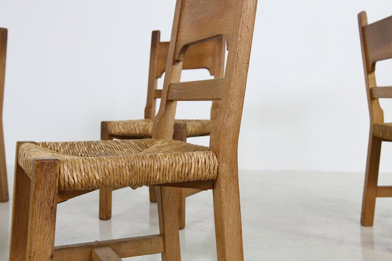 Rare Set of Six Mid Century Modern Vintage Solid Oak and Rush Chairs, Cane  In Good Condition For Sale In Hamminkeln, DE