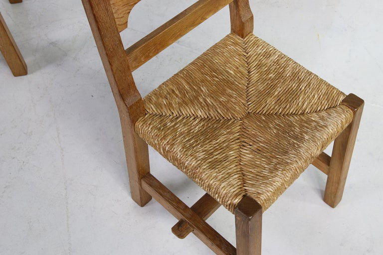Mid-20th Century Rare Set of Six Mid Century Modern Vintage Solid Oak and Rush Chairs, Cane  For Sale