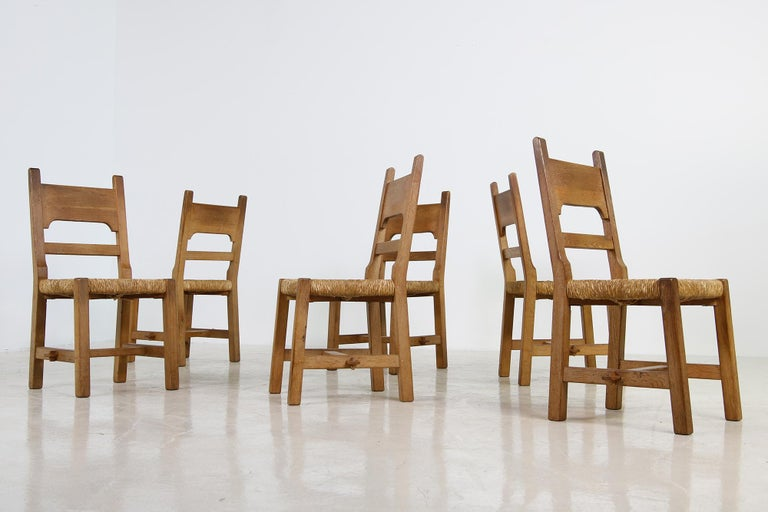 Rare Set of Six Mid Century Modern Vintage Solid Oak and Rush Chairs, Cane  For Sale 1