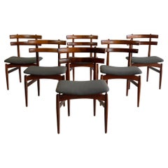 Rare Set of Six Midcentury Rosewood Dining Chairs, circa 1950s