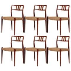 Scandinavian Modern Set of Six Dining Chairs Niels Moller Rosewood No.79 Model