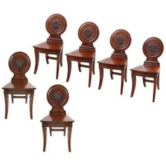 Rare Set of Six Regency Period Mahogany Hall Chairs, circa 1820