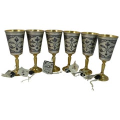 Rare Set of Six Russian Solid Silver & Enamel Kiddish Cups with Original Labels