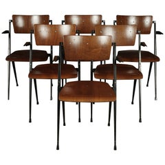 Rare Set of Six Stacking Chairs Designed by Wm. Rietveld, circa 1960