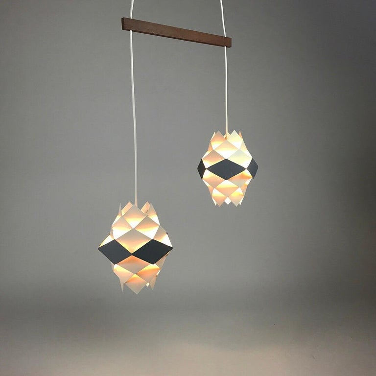 Beautiful set of Symphonie ceiling lights or wall sconces by Preben Dal for Hans Følsgaard AS, Denmark 1960s. 